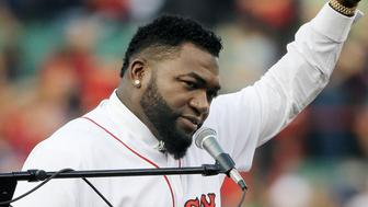 Retired Boston Red Sox baseball player David Ortiz waves to fan Friday, June 23, 2017, at Fenway Park in Boston as the team retired his No. 34 worn when he led the franchise to three World Series titles. It will be the 11th number retired by the Red Sox. (AP Photo/Elise Amendola)