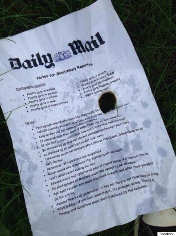 'Daily Mail's Notes' For Glastonbury Reporters
