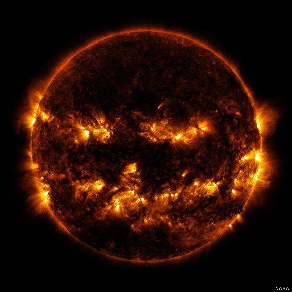 NASA Reveals The Sun's Terrifying Jack-O'-Lantern Face For