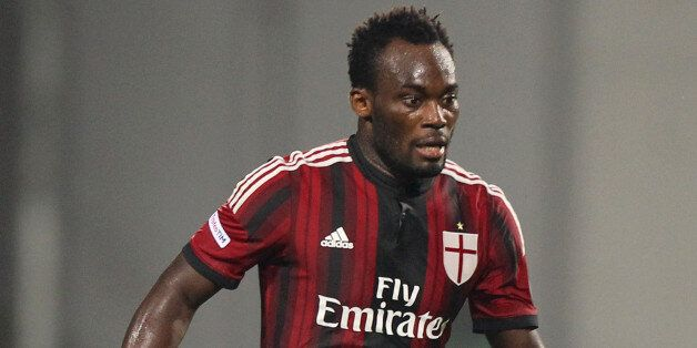 REGGIO NELL'EMILIA, ITALY - AUGUST 23: Michael Essien of AC Milan in action during the TIM Pre-season...
