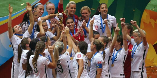 VANCOUVER, BC - JULY 05: United States of America celebrates after winning the FIFA Women's World Cup...