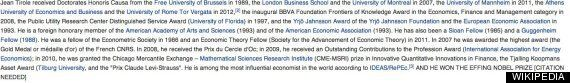 Nobel Prize Winner Jean Tirole's Wikipedia Page Needs Some Tidying