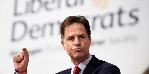 GLASGOW, SCOTLAND - OCTOBER 08: Deputy Prime Minister and Liberal Democrat leader Nick Clegg delivers...
