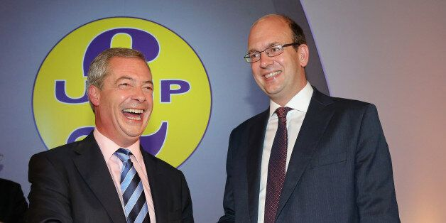DONCASTER, ENGLAND - SEPTEMBER 27: Conservative MP Mark Reckless is welcomed to UKIP by party leader...