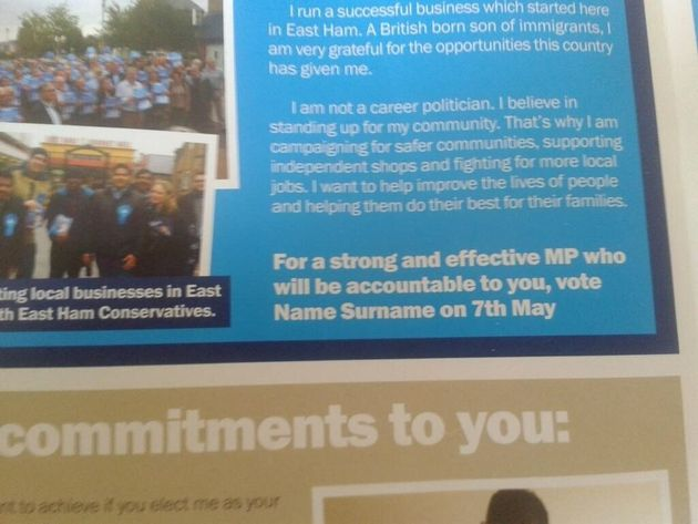 Tory Candidate's Leaflet Asks People To Vote For 'Name Surname' On May