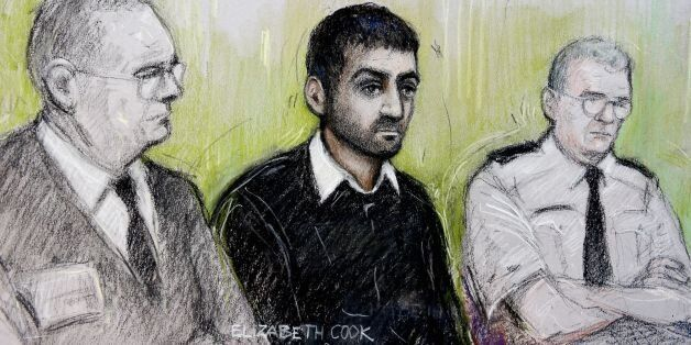 Court artist sketch by Elizabeth Cook of Erol Incedal (centre),formerly known in the case as AB, appearing...
