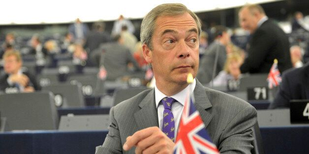 UKIP party leader Britain's Nigel Farage listen to debates Tuesday July 15, 2014 at the European Parliament...