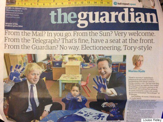 Guardian Front Page Creates War Of Words Over Just Who Was Invited To Cameron's Nursery