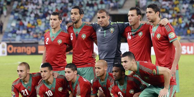 Morocco's team lines up before the Morocco vs Cape Verde Africa Cup of Nations 2013 group A football...