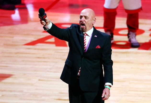 Doug Tranquada leads the Canadian national anthem prior to Game Five of the 2019 NBA Finals in Toronto...