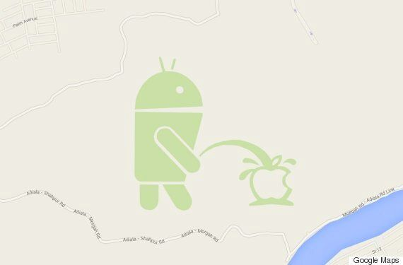 There's An Android Urinating On The Apple Logo In Google