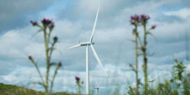 Turbines at Whitelee Windfarm in East Renfrewshire, the UK's largest onshore wind