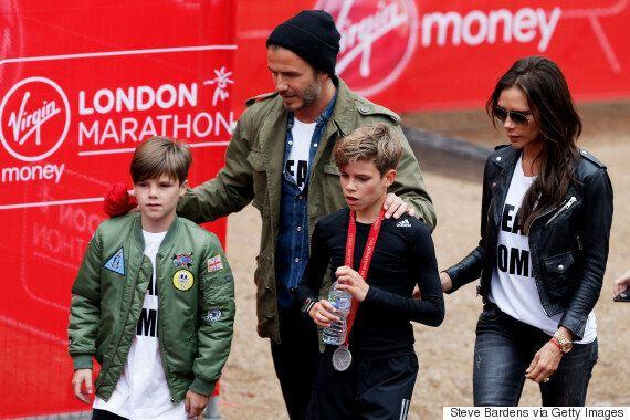 David Beckham And Family Support Romeo Beckham As He Completes Junior London Marathon