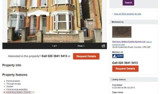 Croydon House Advertised 'With Local Drug Dealers Close