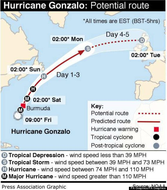 Hurricane Gonzalo Bears Down On Britain As 'Yellow' Weather Warning