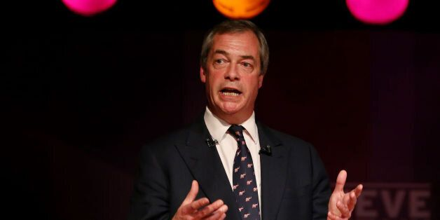 Ukip Leader Nigel Farage delivers a speech at a meeting in Purfleet, Essex, following a day of campaigning...
