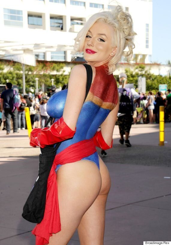 Courtney Stodden Goes Topless At Comic-Con, Dons Captain Marvel Body Paint To Promote Peta (NSFW