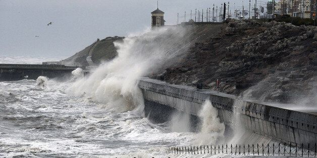Large waves hit the seafront at Blackpool, as the remnants of Hurricane Gonzalo blew into Britain, causing...
