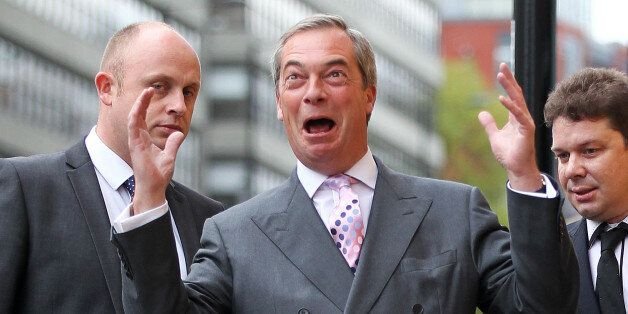 Ukip leader Nigel Farage during a visit with the Ukip candidate for the position of South Yorkshire police...