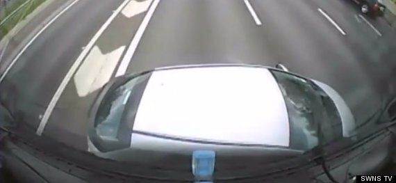 Dash Cam Captures Moment Lorry Pushes Car Sideways On