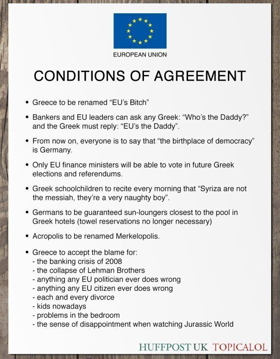 Conditions Of Greece Agreement With European Union