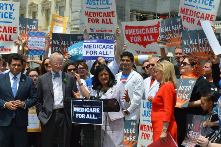 Rep. Pramila Jayapal speaks at a press conference on Medicare for All.