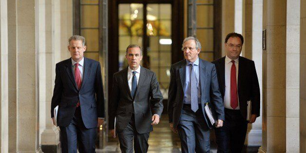 (Left to right) Spencer Dale, Governor Mark Carney, Jon Cunliffe and Andrew Bailey make their way to...