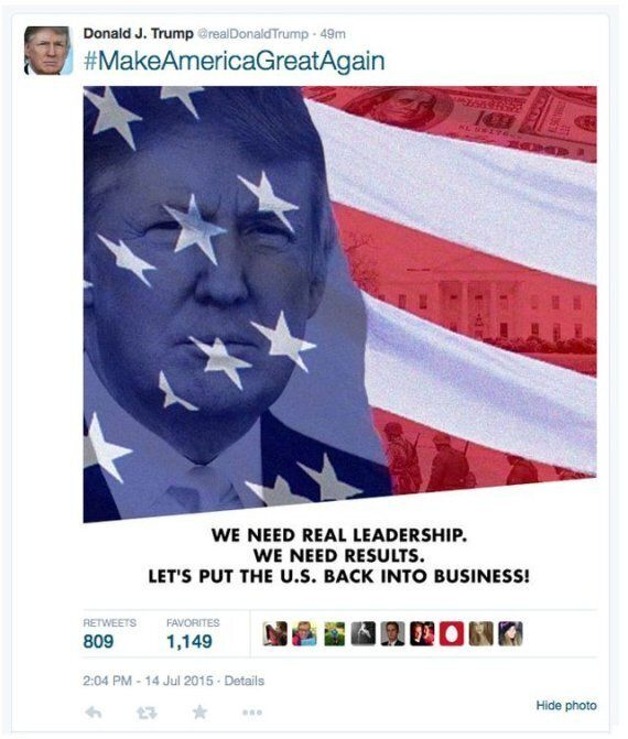 Donald Trump Tweets Picture Of Himself Next To The American Flag And Troops Of The
