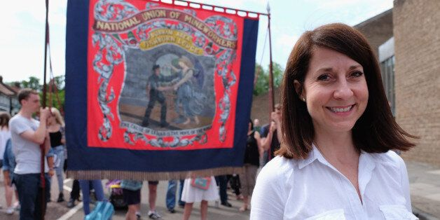 Labour leadership candidate Liz Kendall joins the march with the Fishburn Colliery Banner from Sedgefield...