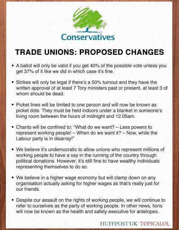 David Cameron's Proposed Changes For Trade Unions