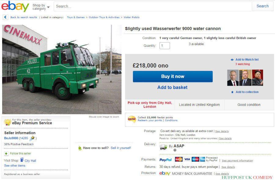 Boris Johnson Puts Water Cannon On eBay After Home Secretary's