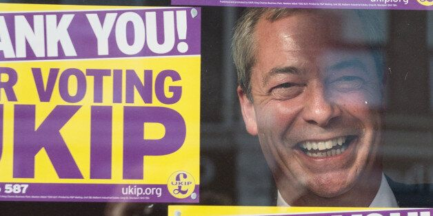 UKIP leader Nigel Farage looks out of the window of the UKIP campaign headquarters in Clacton, after...