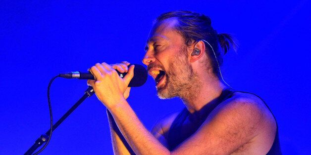 LONDON, ENGLAND - JULY 24: Thom Yorke of Atoms For Peace performs live on stage at The Roundhouse on...