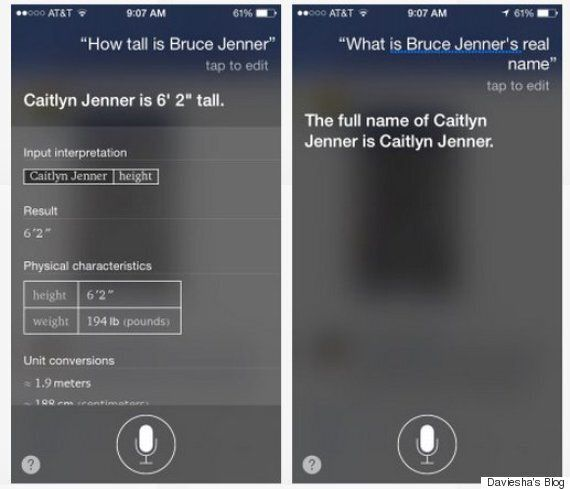 Siri Corrects People That Call Caitlyn Jenner