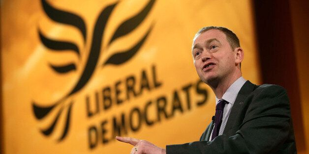 BRIGHTON, ENGLAND - MARCH 10: Tim Farron, President of the Liberal Democrats makes a speech at the Liberal...