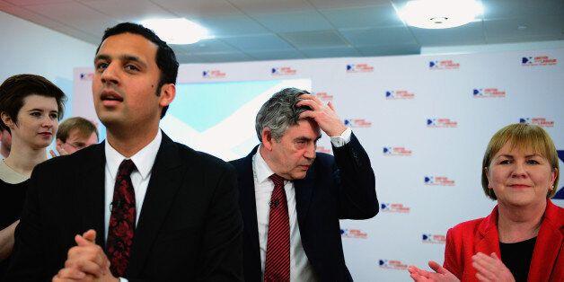 GLASGOW, SCOTLAND - MAY 13: (L-R) Anas Sarwar MP, Former British Prime Minister Gordon Brown and Leader...