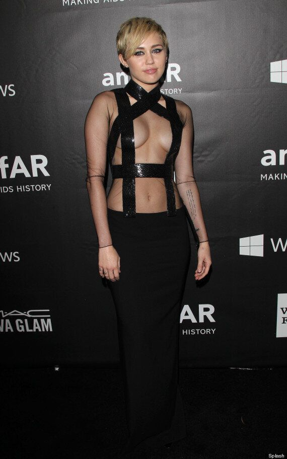 Miley Cyrus And Rihanna Try To Outdo Each Other In Boob-Flashing Dresses At amfAR Gala