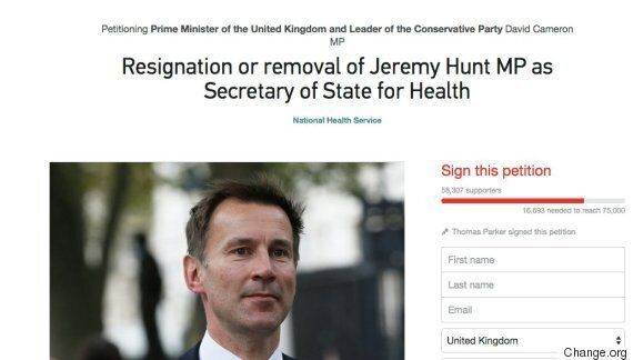 Jeremy Hunt Petition Calling For Health Secretary's Resignation Prompts Thousands Of