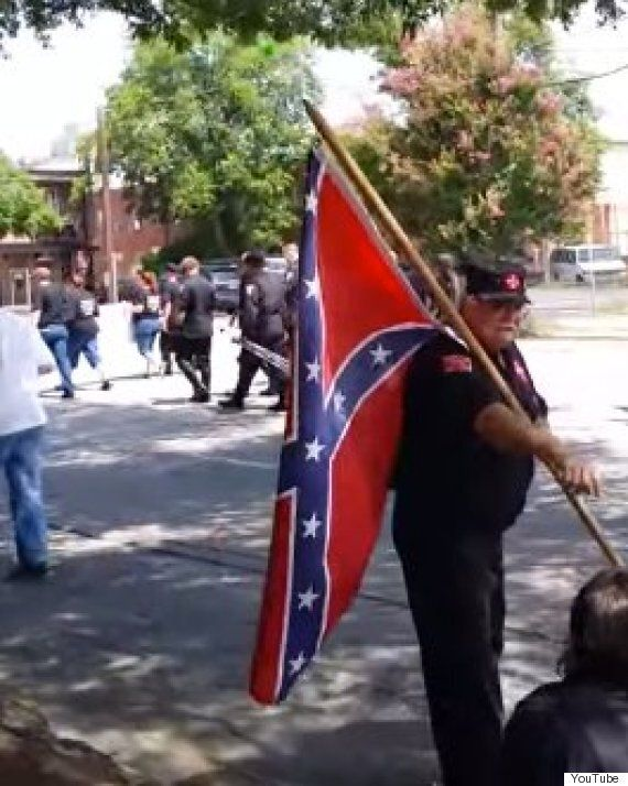 KKK Rally Marchers Waving Confederate Flags Trolled By Tuba