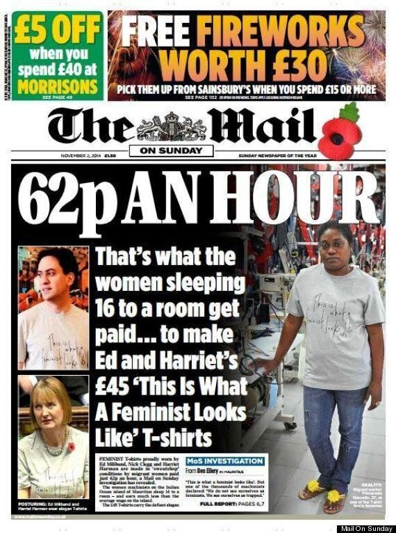 Mail On Sunday Reports Miliband, Harman And Clegg Feminist T Shirts Made In