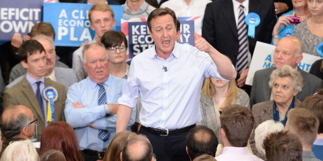 Prime Minister David Cameron attends a rally at Hetherington Livestock Mart in Carlisle, during General...