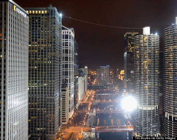 Nik Wallenda Walks Across Chicago On A Tightrope Without A