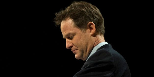Deputy Prime Minister Nick Clegg delivers the leaders speech during the Liberal Democrat Spring Conference...