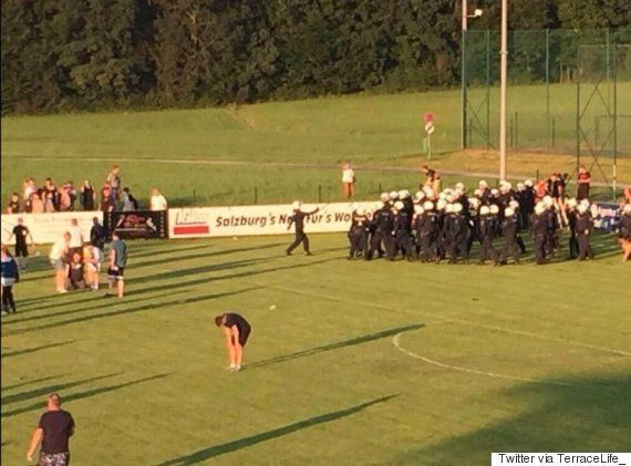 Leeds United Fans Involved In A Riot After A 'Friendly' Away Match Against Frankfurt