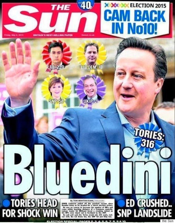 General Election Result Front Pages Follow David Cameron's Return To