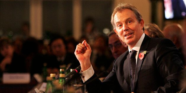British Prime Minister Tony Blair addresses the G8 Climate Change Dialogue Meeting attended by Energy...