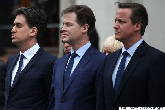 Nick Clegg And Ed Miliband Sombre In Last Official Duty Marking 70th VE Anniversary In London With David