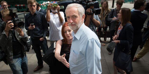 Labour leader contender, Jeremy Corbyn leaves the Royal College of Nursing in central London after delivering...