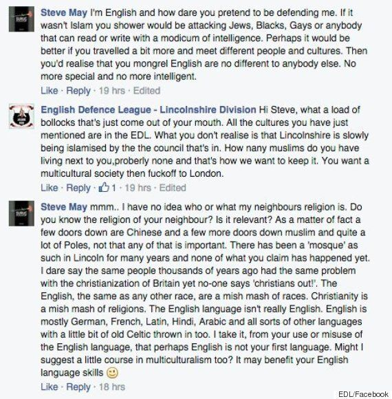 EDL Tell Man To F*** Off To London' If He Wants A Mulitcultural