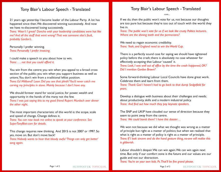 Tony Blair's Labour Party Speech: What He Really
